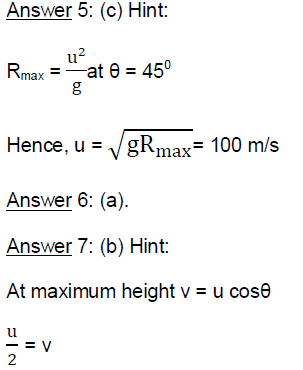 Projectile Motion - Physics Online Test Series for AIPMT