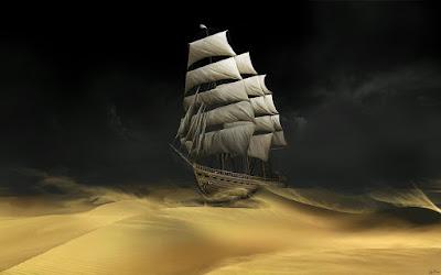 Ιστιοφόρο πλέει νύχτα στην έρημο. Ακολουθεί το κείμενο: ΕΙΠΕ μου, αγάπη μου, για ένα καράβι Θολό που ολομόναχο πάει. Χρυσά, για 'να πλοίο, τα φώτα που ανάβει Στα χάη…  Γι' αυτό μόνον, 'Πε μου και για –που να βγαίνει- Μια Σελήνη θεόρατη, είπε μου - κι αυτό να τραβάει, να τραβάει, να πηγαίνει Θεέ μου!   Και ύστερα άρχισε (τα σκότη ως θα ζώνουν)  Να μου λες, να μου λες – καθώς πρώτα- Για κείνα που άναψε –χρυσά – να μαργώνουν Τα φώτα  Αγάπη μου, αγάπη μου, το πλοίο με πλώρη Θολή κι η θεόρατη εκείνη - φωτιά π' ανεβαίνει απ' τα δάση απ' τα όρη- η Σελήνη.  Και σώπασε πάλι και πάλι άρχισέ μου Το καράβι, να μου λες, αν το ζώνει Ακόμα η νύχτα, ακόμα αν – Θεέ μου! - Μαργώνει.  Και ύστερα μείνε –κι εγώ- σ' ένα δρόμο Και –τι όνειρο στο σβήσε και στ' άψε!- Το κεφάλι ακουμπώντας –ολόρθη- στον ώμο Μου κλάψε…