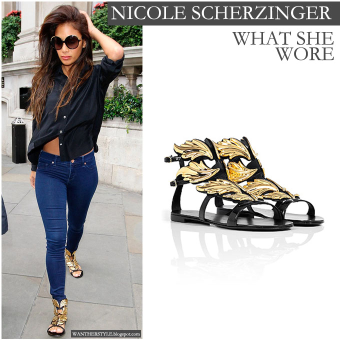 What She Wore Nicole Scherzinger In Gold Embellished