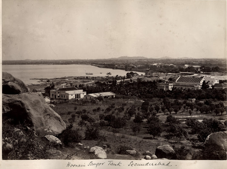 Hussain Sagar Lake in Hyderabad, Andhra Pradesh - c1880's