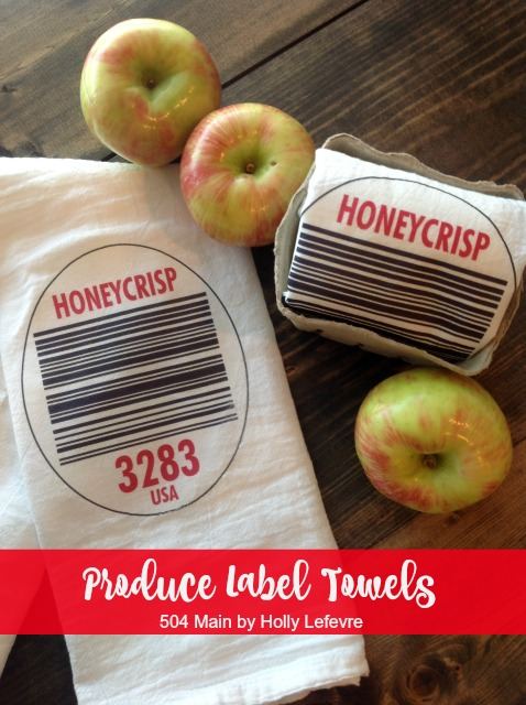 Fun and quirky custom produce label flour sack towel tutorial.