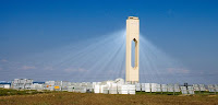 The Solucar PS10 solar power tower, part of a commercial power station. (Image Credit: afloresm via Wikimedia Commons) Click to Enlarge.