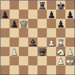 Partida de ajedrez F. J. Pérez - Manuel Golmayo, posición después de 36...Ad4!