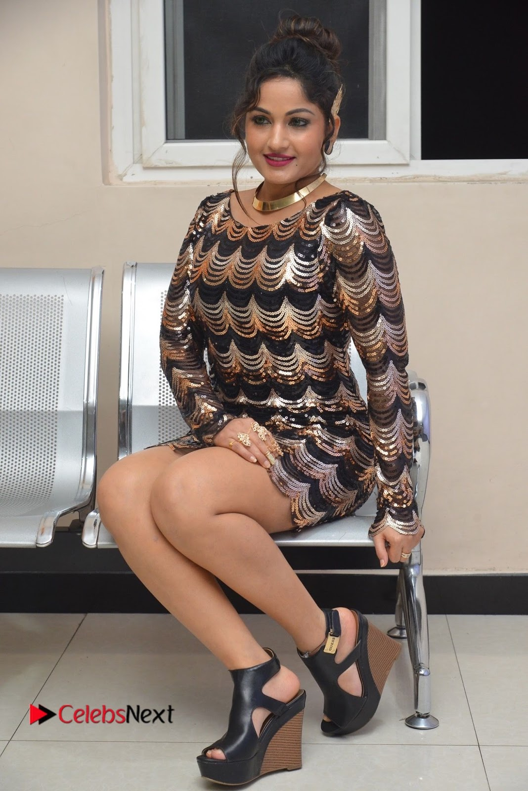 Actress Madhavi Latha  Pictures in Short Dress at On Mona Birthday Premiere  0058.JPG