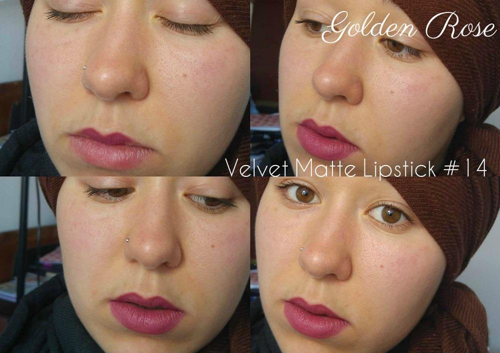 Golden Rose & Cookie's Makeup : Swatches Velvet Matte Lipstick 14