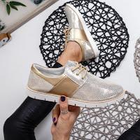 Pantofi casual femei Piele naturala aurii
