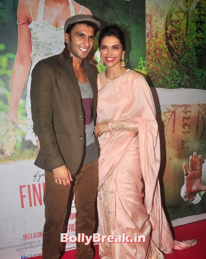 Ranveer Singh, Deepika Padukone, Deepika Padukone in Beige Colur Saree for 'Finding Fanny' Screening