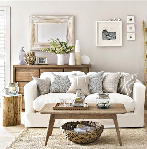 Neutral beige coastal living room