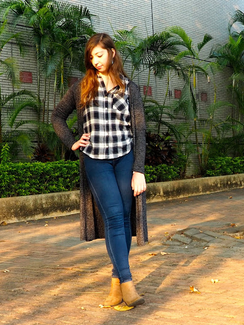 Classic Flannel | outfit of blue and white checked shirt, long grey knit cardigan, blue skinny jeans and brown heeled ankle boots