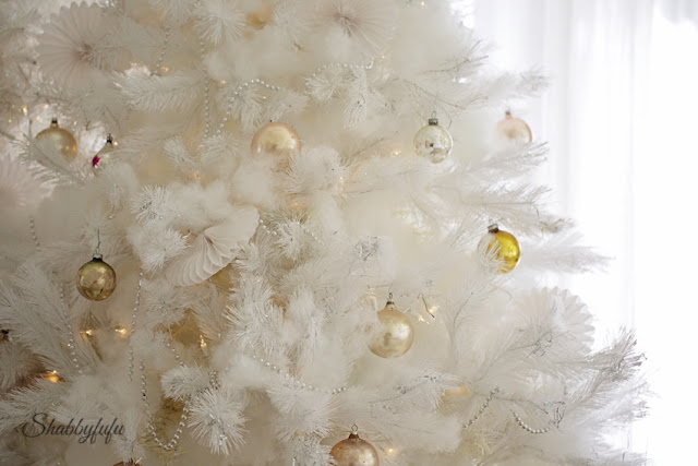 white christmas tree shabby chic ornaments