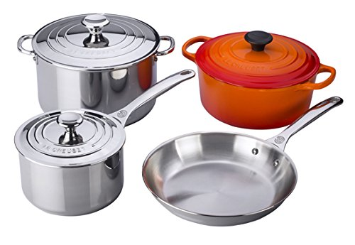 Le Creuset 7 piece Stainless Steel & Enameled Cast Iron Cookware Set