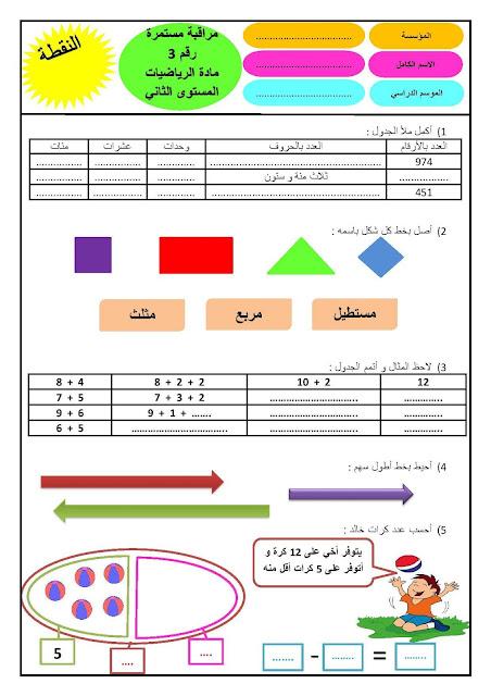 الفرض الأول للدورة الثانية في مادة الرياضيات للمستوى الثاني