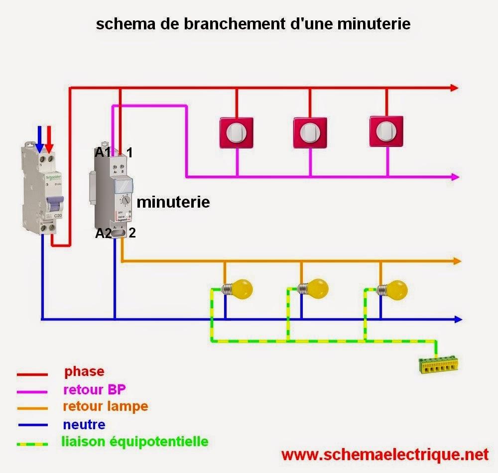 schéma branchement câblage et raccordement minuterie