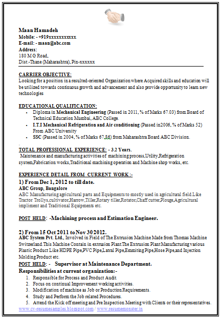 Resume Format For Diploma In Mechanical Engineering | Best Create