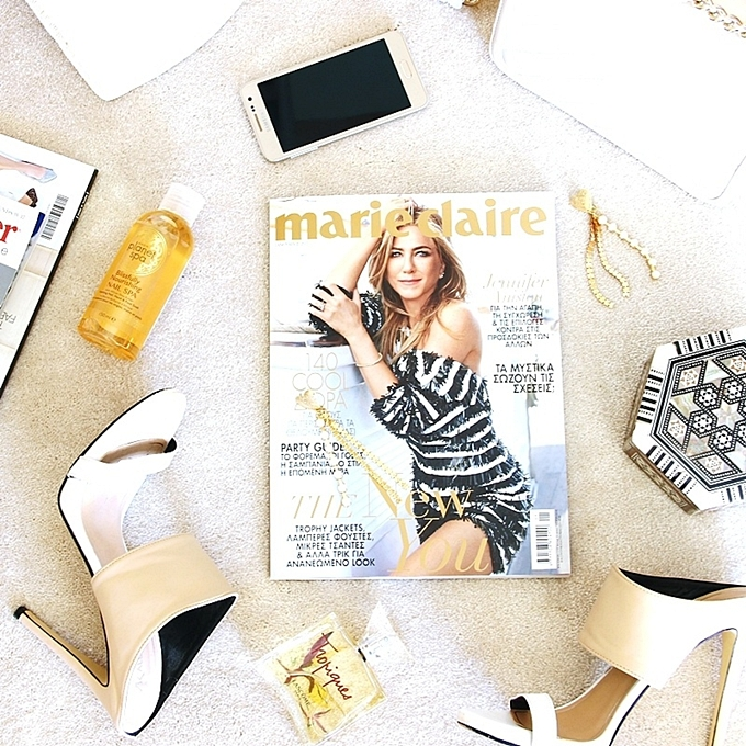 Best beige/gold fashion flatlays.Marie Claire Greece.