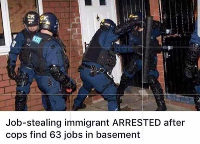Job-stealing immigrant arrested after cops find 63 jobs in basement