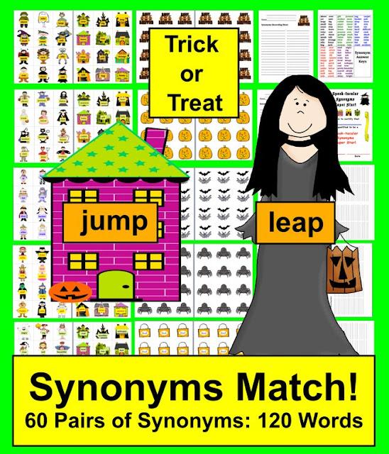 https://www.teacherspayteachers.com/Product/Halloween-Literacy-Centers-Spook-tacular-Synonyms-60-Pairs-389160