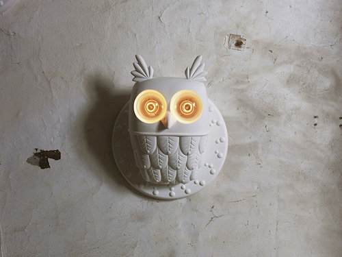 White Ceramic Owl Lamp By Matteo Ugolini