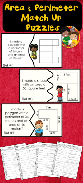 This packet contains 7 different sets of matching puzzle piece centers on area & perimeter. You can use them to differentiate or have students complete each set in order. They can be completed independently or with a partner. #1 Area Grid #2 Area Measurements #3 Area Combining Rectangles #4 Perimeter Grid #5 Perimeter Measurements #6 Area & Perimeter Grids #7 Area & Perimeter Measurements