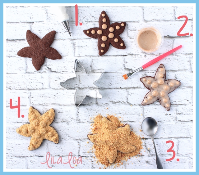 Learn how to make decorated starfish sugar cookies with royal icing and graham cracker crumbs!