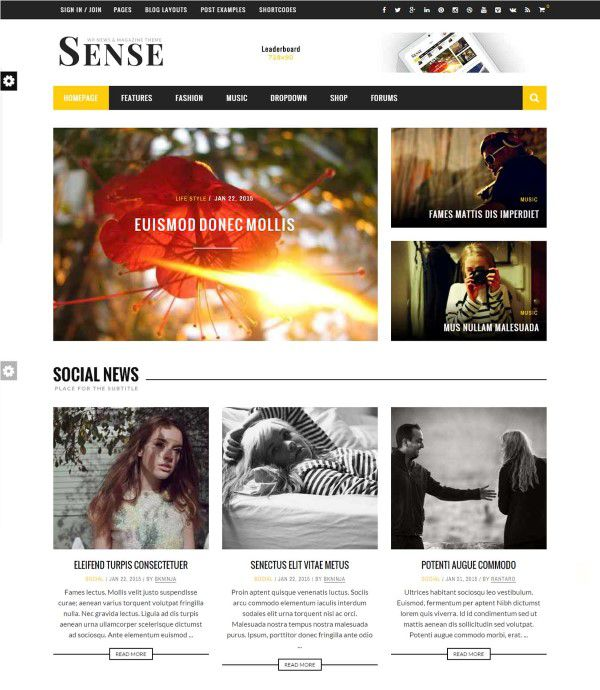 Sense blog magazine theme