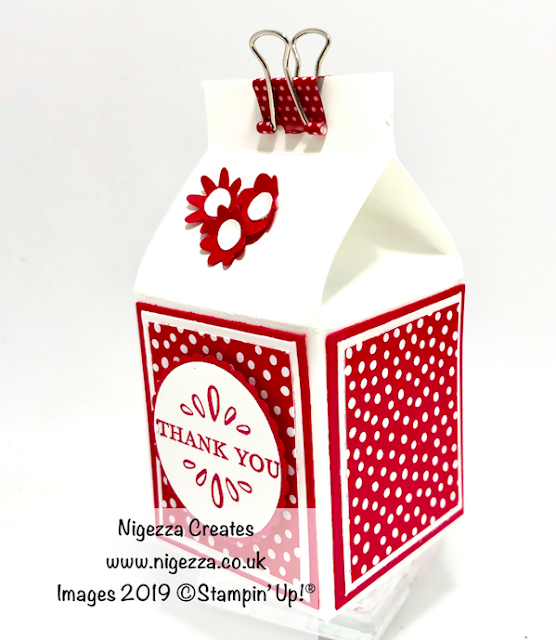 Stampin Up! Bitty Bloom Punch, Milk carton gift box for Yankee candle