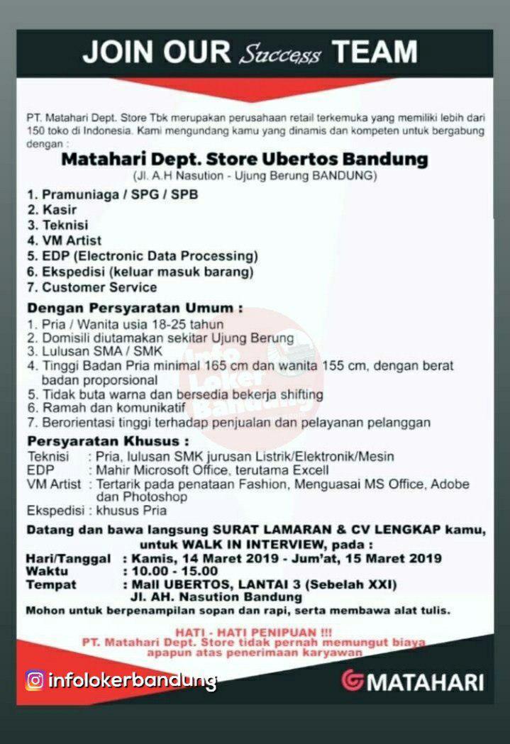 Lowongan Kerja PT Matahari Dept Store Ubertos Bandung Maret 2019