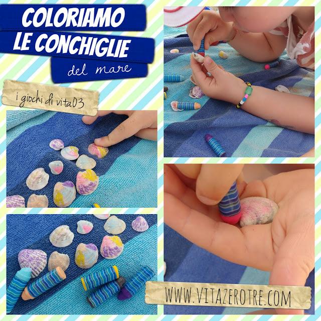 coloriamo le conchiglie del mare www.vitazerotre.com