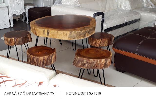 Bàn trang trí và ghế đẩu gỗ Me Tây giá rẻ