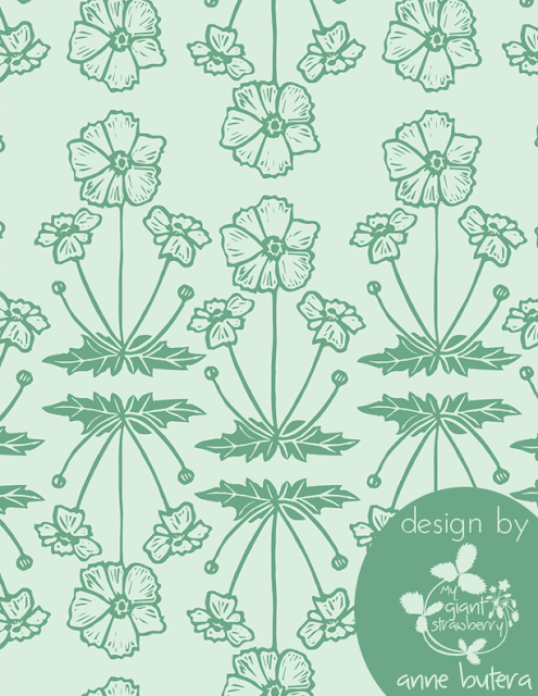 pattern design, repeat patterns, surface pattern design, block printing, Japanese anemones, Anne Butera, My Giant Strawberry