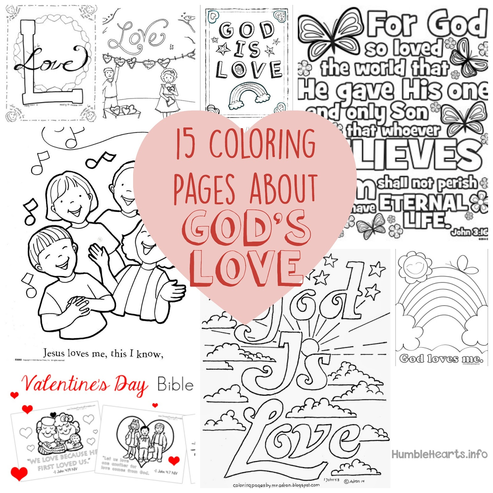 15 coloring pages about gods love short and sweet