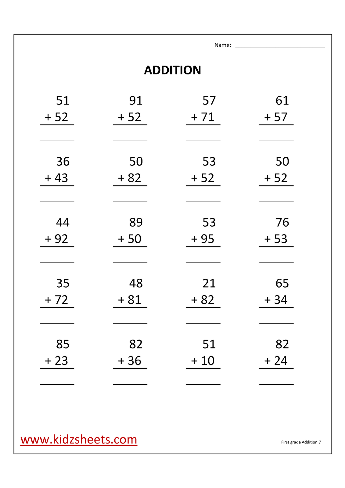 Kidz Worksheets First Grade Addition Worksheet7