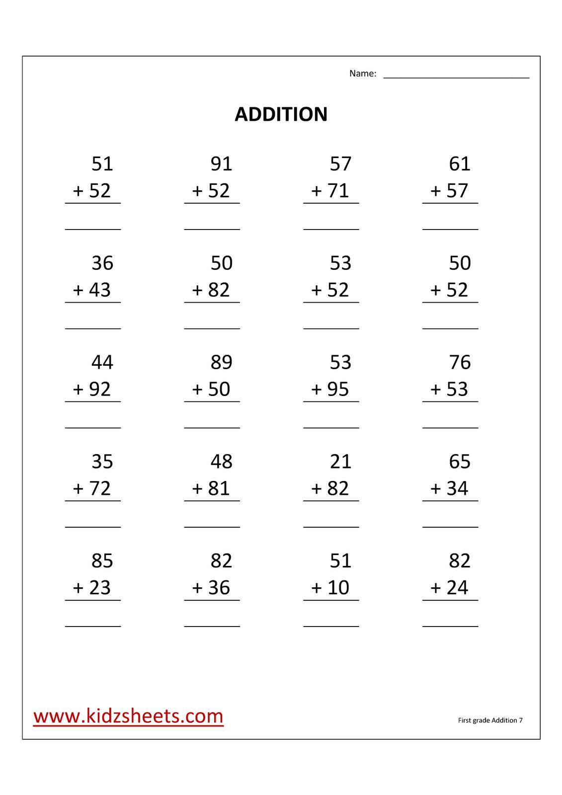 Kidz Worksheets: First Grade Addition Worksheet7