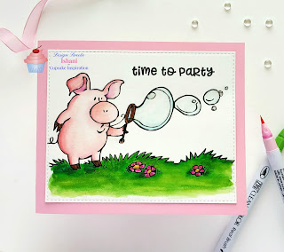 igital stamp, DRS designs Leonard pig blowing bubbles, time to party card, CIC, water colouring, Zig clean colour brush pens, Birthday card, Congratulations, Quillish, cards by Ishani