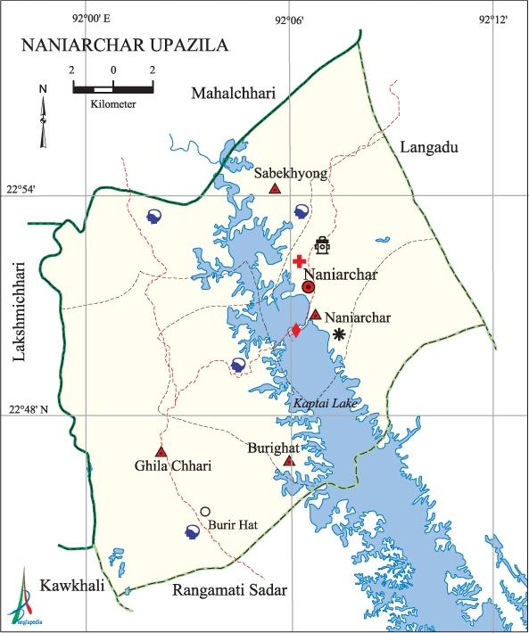 Naniarchar Upazila Map Rangamati District Bangladesh