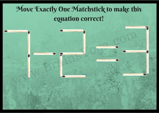 Matchsticks Math Equation Brain Teaser