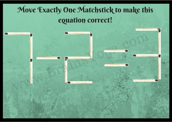 Matchsticks Math Equation Brain Teaser - Brain\'s Yoga
