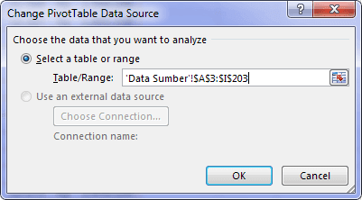 Change PivotTable Data Source