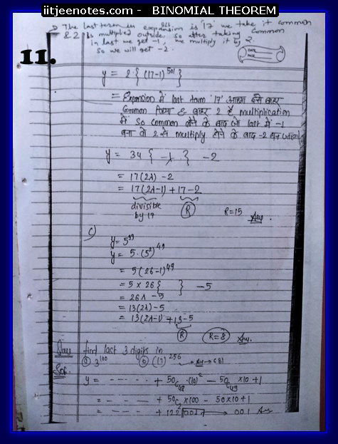 IITJEE Notes on Bimomial Theorem maths