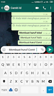 Cara membuat Tulisan Mencoret ( Strikethrough ) pada Chat Whatsapp