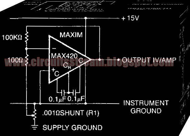 Simple Current Shunt Amplifier Circuit Diagram