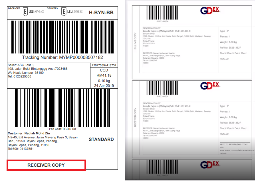 Lazada seller shipping labels