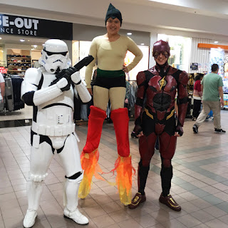 Astro Boy stilt walker meets The Flash and Stormtrooper at DVD World Warrawong