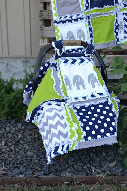 Elephant Car Seat Canopy for Baby Boy & Elephant Baby Bedding Lime Green Navy Blue and Gray by A Vision ...