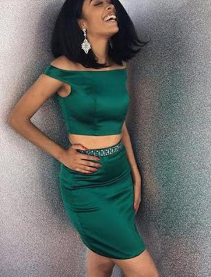 DARK GREEN TWO PIECE HOMECOMING DRESS