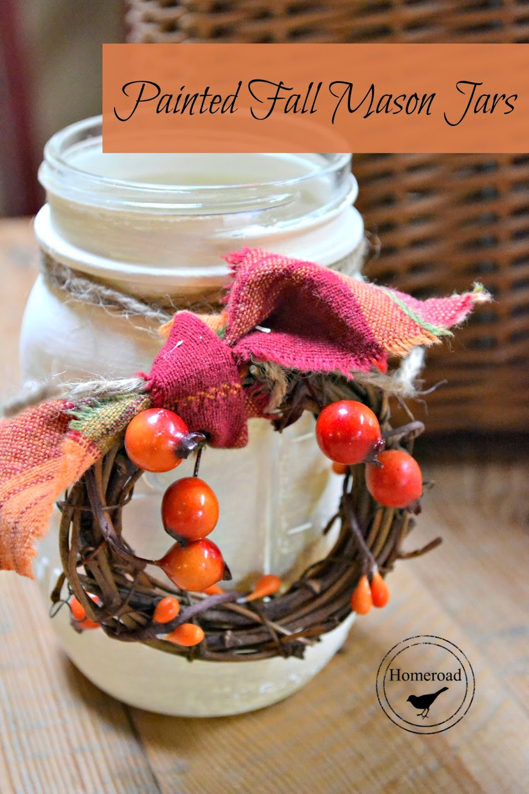 white mason jar with tiny wreath