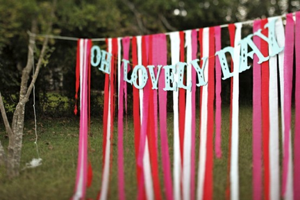 oh lovely day ribbon wedding backdrop