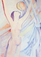 Mujer con lápices de colores