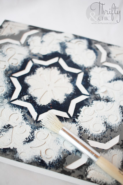 DIY Stenciled tile tutorial. How to stencil tile. DIY cement tile stenciling. Canvas stenciled tile decor. Hutch decor and decorating ideas