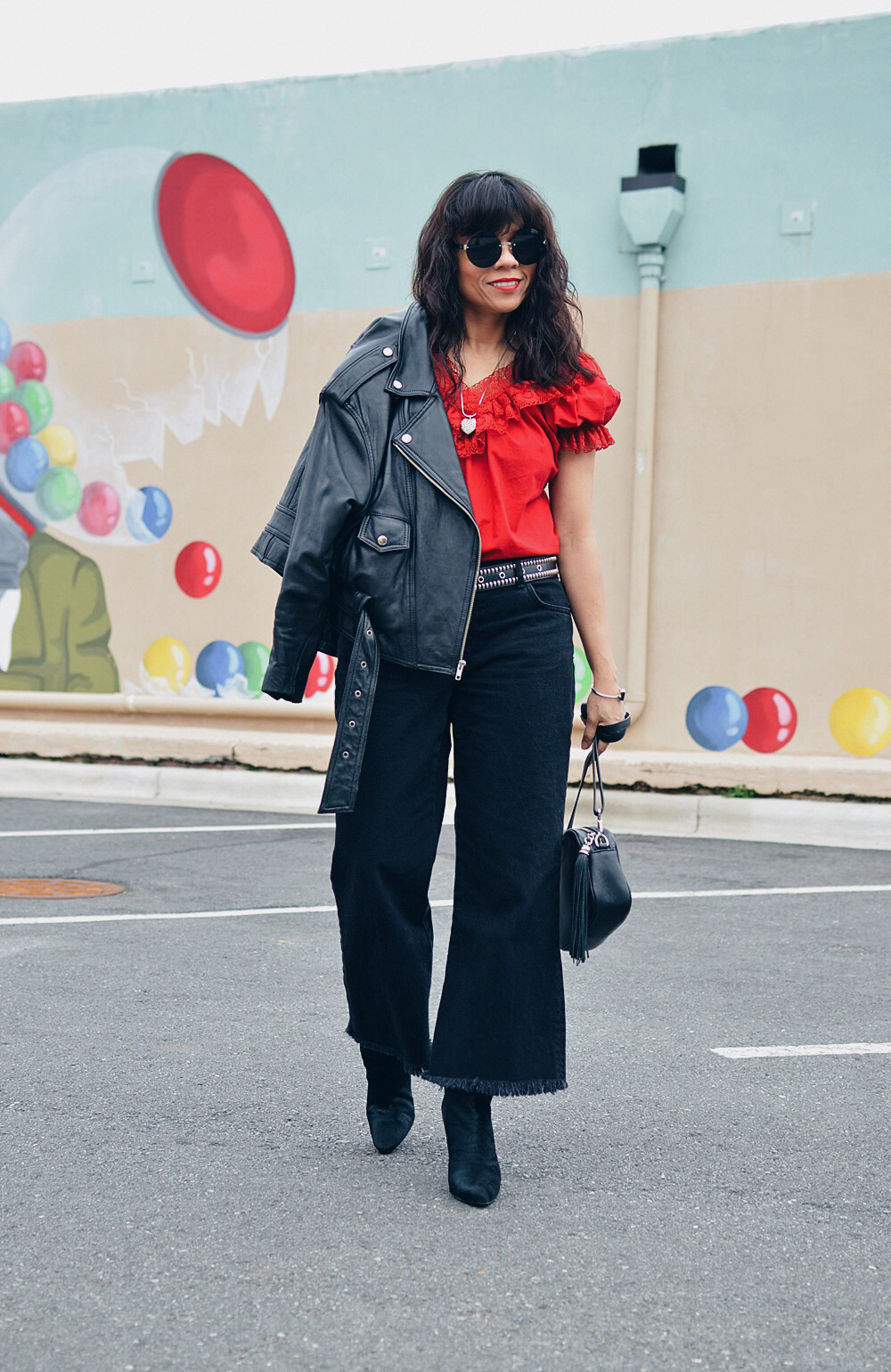 Red with black street style